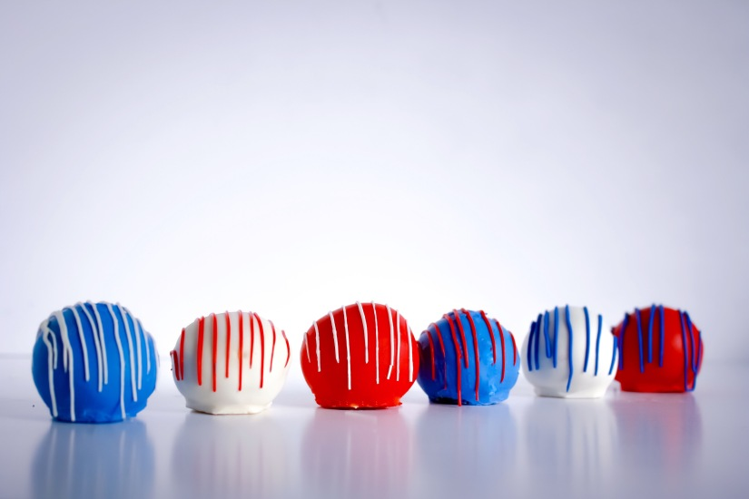 Red White and Blue Cake Balls